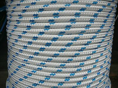 AU37.85 • Buy 12MM Double Braided Rope Polyester Yacht Rope 27 Metres White Blue Fleck