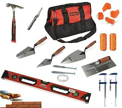 BRICKLAYERS TOOLS Plastering Trowels, Brick Hammer, Line Pins F Clamps 100m Line • 74.95£