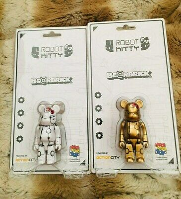 $99.99 • Buy Medicom Bearbrick Action City X Robot White & Gold Hello Kitty Be@rbrick 100%