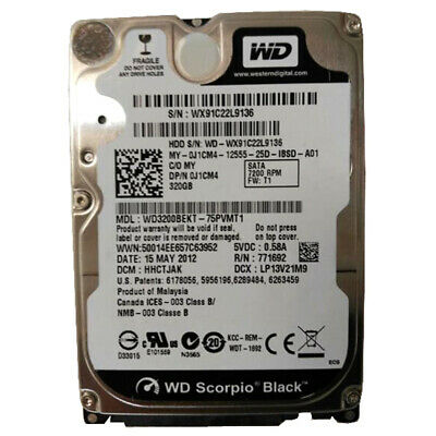 AU28.90 • Buy Western Digital Scorpio Black WD3200BEKT 2.5  SATA 320GB 7200RPM Hard Drive