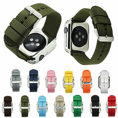 AU14.65 • Buy Waterproof Nylon Fabric Canvas Strap For Apple Watch Series 5 4 3 2 1 Watch Band