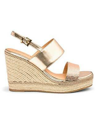 £15.99 • Buy Womens Rose Gold Wide Fit E Diamante Sandals Wedges Shoes Uk 4-8