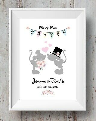 £6.99 • Buy Disney Wedding - MR & Mrs Minnie Mouse - Mickey Mouse - A4 Print - Personalised
