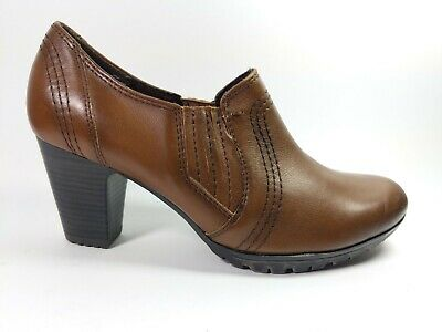 Jana Brown Leather Slip On Mid Heel Shoes Uk 5.5 G Wide Worn Once  • 15.99£