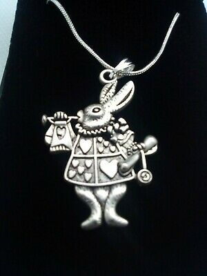 £4.50 • Buy Child Alice In Wonderland Rabbit Necklace On 16  Silver Snake Chain Boxed Gift