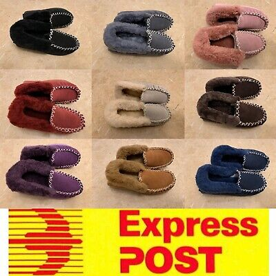 AU45 • Buy UGG Moccasin Slippers, 100% Sheepskin, Ladies Size Measurements, Express Post
