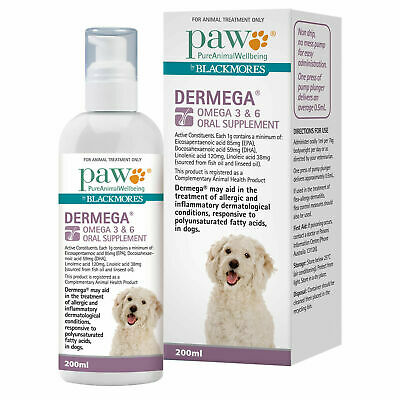 AU32.07 • Buy PAW Dermega Oral Supplement With Omega 3 & 6 For Cats & Dogs - 200ml