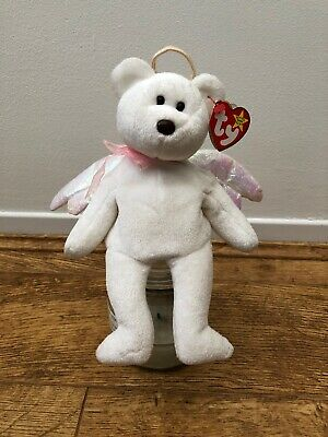 TY Beanie Babies - Halo The Angel Bear 1998 - BROWN NOSE- MINT With TAG No.425 • 240£