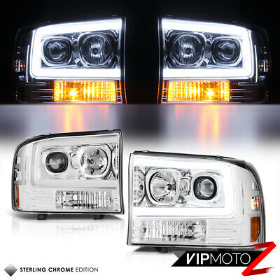 $228.61 • Buy 99-04 Ford F250 F350 SuperDuty [Neon LED Tube DRL] 1PC Projector Headlight Pair