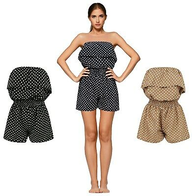 Ladies Playsuit Jumpsuit Polka Dot Shorts Bandeau Elasticated Summer New Womens • 9.95£