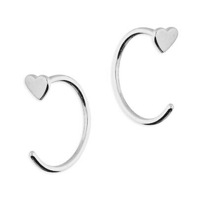 925 Sterling Silver Heart Half Hoop Earrings • 5.45£