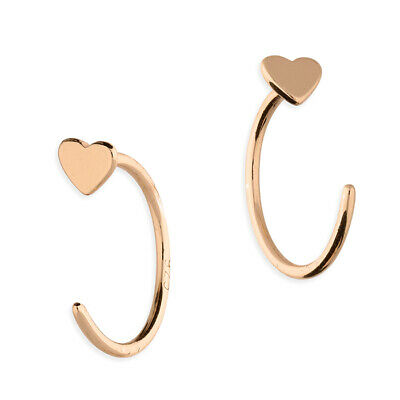 925 Sterling Silver Rose Gold Heart Half Hoop Earrings • 5.70£