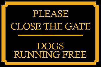 £3.99 • Buy Close The Gate Dogs Running Free Vintage Retro Style Metal Wall Sign Plaque