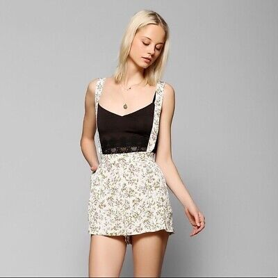 $15 • Buy Kimchi Blue Urban Outfitters Floral High Rise Suspender Shorts, Women's Size M