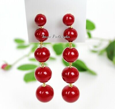 $ CDN56.15 • Buy NWT Kate Spade Golden Girl Linear Bauble Statement Earrings, Color: Red