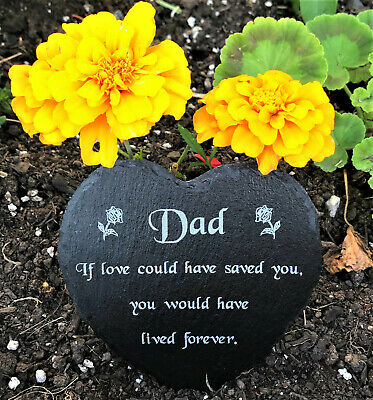 Personalised Engraved Slate Heart Memorial Grave Marker Plaque Mum Dad ANY NAME • 9.99£