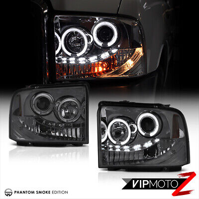 AU229.56 • Buy 2005-2007 Ford F250 F350 SuperDuty SD Smoke DRL LED Halo Projector Headlights
