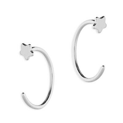 925 Sterling Silver 10mm Star Half Hoop Earrings • 5.47£