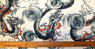 £3.60 • Buy Fabric Dragons 100% Textured Cotton 112cm (44 ) Wide By Nutex
