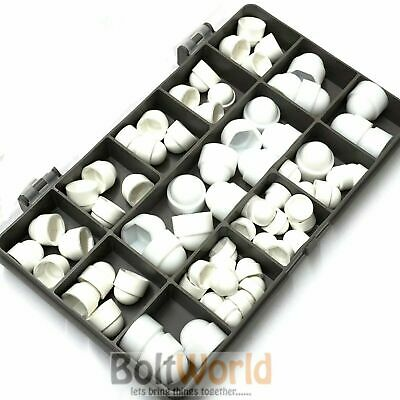 £1.71 • Buy 70 Pieces Assorted White Dome Plastic Dome Nuts & Bolts Covers Caps M5 M6 M8 Kit