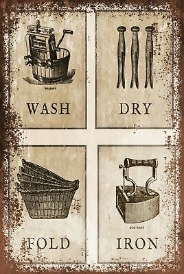 Laundry Instruction Vintage Style Retro Metal Sign Plaque, Clothes, Washing • 3.99£