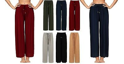 £6.79 • Buy Ladies Womens Trousers Lounge Culottes Wide Leg Harem Pleated Size Spring Summer