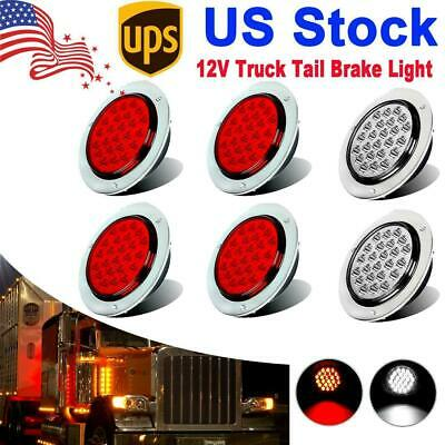 $46.19 • Buy 4inch 24 LED Round Stop Turn Tail Backup Reverse Truck Lights 4 Red + 2 White