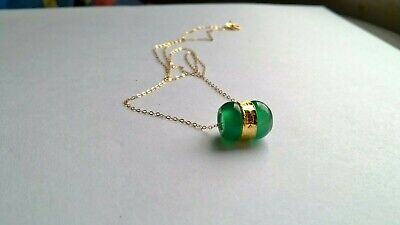 £77.66 • Buy Necklace New Gold Yellow 18 Carat With Pendant Jade Green And Gold 24 Carat