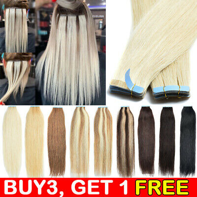 UK CLEARANCE Tape In Russian Remy Human Hair Extensions Skin Weft Blonde THICK • 10.44£