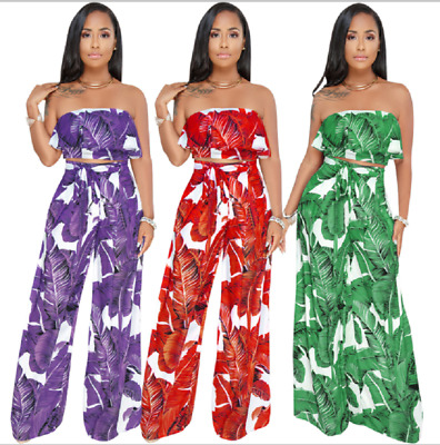 $ CDN26.34 • Buy Womens 2 Piece Set Crop Top And Loose Pants Palm Leaves Print Outfit Jumpsuit ZG