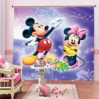 Mickey Mouse Writhing 3D Curtain Blockout Photo Printing Curtains Drape Fabric • 33.26£