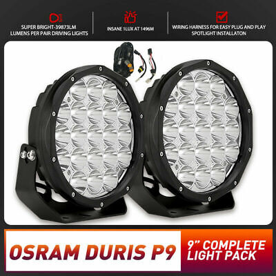 AU119.99 • Buy 9inch LED Spot Driving Lights OSRAM DURIS P9 Pair Round Offroad 4x4 Work SUV H4