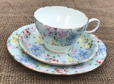 Shelley Melody Gilded Edge Chinz Trio Cup Saucer Side /Cake Plate • 48£