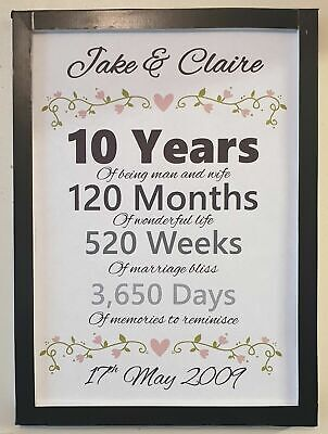 A4 Personalised Wedding Anniversary Gift Print 1st 5th 10th 25th 50th Any Year • 4.99£