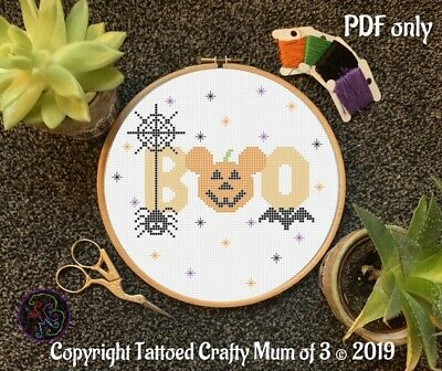 """£3.29 • Buy Disney Inspired Halloween Mickey Mouse """"boo"""" Quote Cross Stitch Pattern PDF Only"""