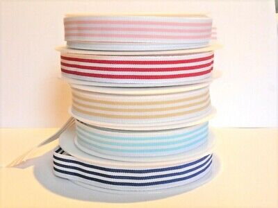 Quality Woven Candy Striped Ribbon By The Metre, Choice Of Colours • 1.15£