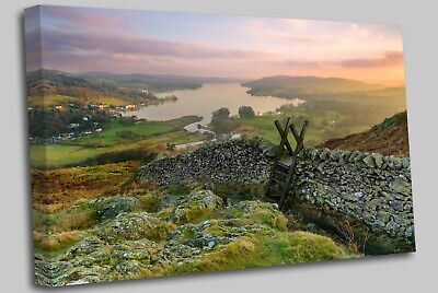 Sunset Windermere Lake District Canvas Wall Art Picture Print • 17.99£