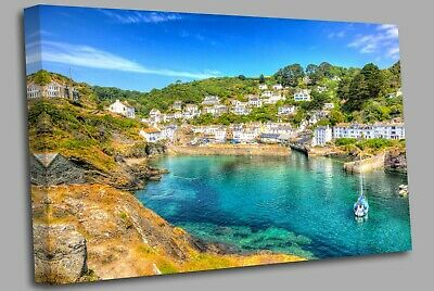 £17.99 • Buy Polperro Harbour Cornwall England  Canvas Wall Art Picture Print