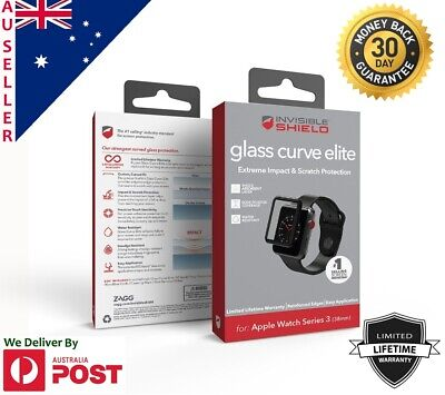AU44.99 • Buy Genuine Zagg InvisibleShield Glass Curve Elite  Apple Watch Series 3 4 Protector
