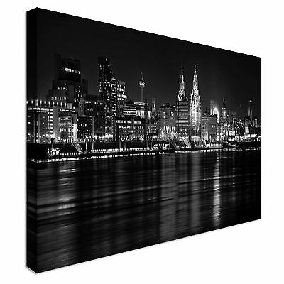 £39 • Buy Liverpool Skyline Night Mersey River 40x20 Canvas Wall Art Picture Print