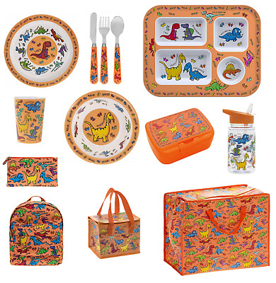 £6.49 • Buy Kids Boy Dinosaur Dinner Section Plate Bowl Section Tray Cutlery Backpack Stars