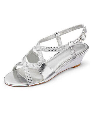 £16.99 • Buy Ladies Silver Extra Wide Fit Eee Comfy Low Heel Diamante Wedges Shoes Sizes 4-9