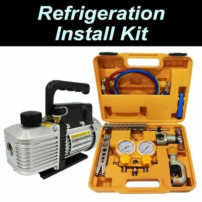 AU369 • Buy HVAC Manifold Tool Kit And Vacuum Pump For Refrigeration A/C Installations