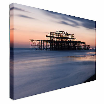 £17.99 • Buy Brighton West Pier At Dusk Canvas Wall Art Picture Print