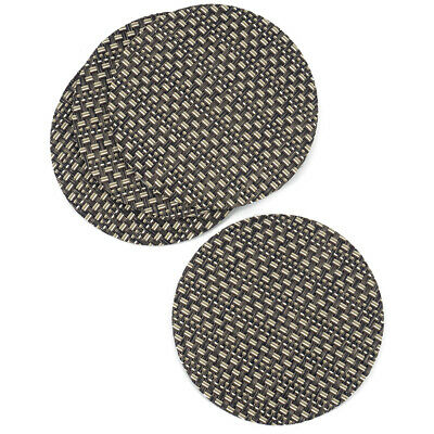 Golden Brown Rattan Effect Coaster Set Of 4 Vinyl Mats Outdoor Indoor Weave Wove • 2.99£