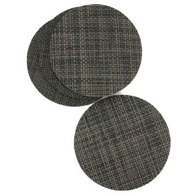 Dark Brown Rattan Effect Coaster Set Of 4 Vinyl Mats Outdoor Indoor Weave Woven  • 2.99£