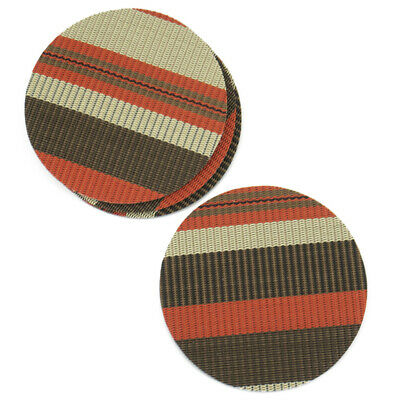 Red Brown Gold Rattan Effect Coaster Set Of 4 Vinyl Mats Outdoor Indoor Weave Wo • 2.99£