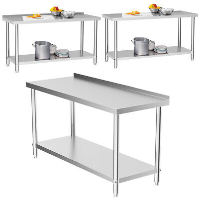 Stainless Steel Table Work Bench 6FT 180cm Catering Table Top Commercial Kitchen • 149.95£