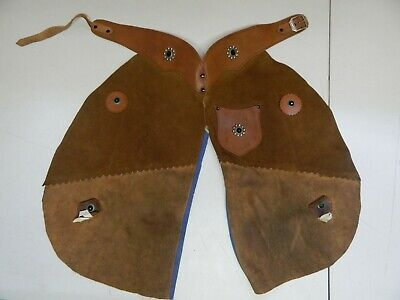 $34.99 • Buy Vintage Kids Leather Chaps Childs Cowboy Cowgirl Brown Riding Costume Western
