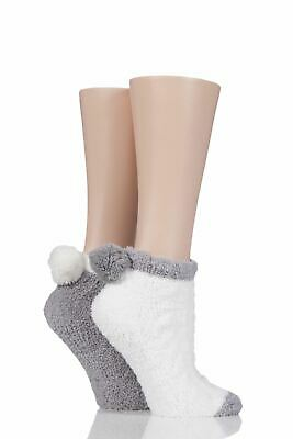 Ladies 2 Pair Elle Cable Cosy Anklet Socks With Pom Poms • 9.99£